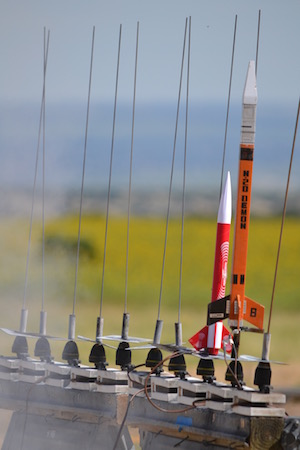 Two rockets ready to be launched